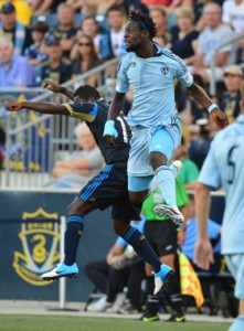 2012 US Open Cup: Kei Kamara skies for a header in Sporting Kansas City's 2-0 win over Philadelphia Union. Photo: Sporting KC