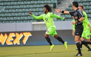 Michael Salazar of PSA Elite celebrates his goal against the LA Galaxy during the 2015 US Open Cup. Photo: PSA Elite