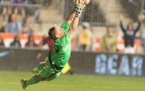 Tim Melia of Sporting KC makes a save in the penalty kick shootout in the 2015 US Open Cup Final. Photo: Mark Shaiken | Sporting KC