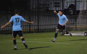 West Chester United's Julien Aoyama celebrates a goal. Photo: Kari Haffelfinger