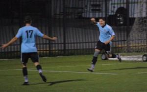West Chester United's Jason Ayoama celebrates a goal. Photo: Kari Haffelfinger