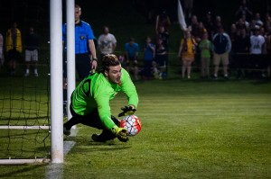 Evan Louro of Detroit City FC saves a Michigan Bucks penalty kick in the First Round of the 2016 US Open Cup. Photo: Jon DeBoer | DCFC
