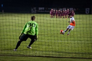 Detroit City FC goalkeeper Evan Louro gets ready for a PK attempt from the Michigan Bucks during the 2016 US Open Cup. Photo: Jon DeBoer   DCFC