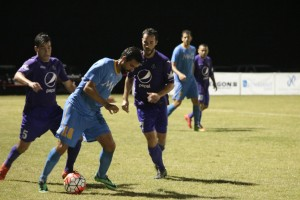 Players from Mississippi Brilla and CD Motagua of New Orleans battle for the ball in their First Round US Open Cup match. Photo: Mississippi Brilla