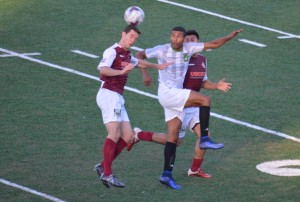 Players from the Sacramento Gold and Burlingame Dragons battle for the ball in a 2016 Lamar Hunt US Open Cup match. Photo: Sacramento Gold