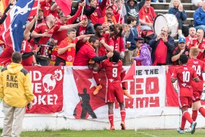 The Richmond Kickers celebrate a goal against Aromas Cafe in the Second Round of the 2016 US Open Cup. Photo: James Loving | Richmond Kickers
