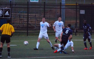 Bobby Warsaw of the City Islanders scores the team's first goal against West Chester United in the 2016 US Open Cup. Photo: Kari Haffelfinger.