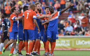 Omar Cummings of FC Cincinnati celebrates with his teammates after scoring a goal against Indy Eleven NPSL in the 2016 US Open Cup. Photo: FC Cincinnati