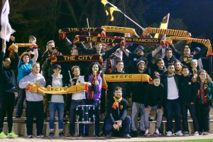 San Francisco City supporters cheer on their club during an exhibition game against San Francisco State. Photo: Caiti Franscell