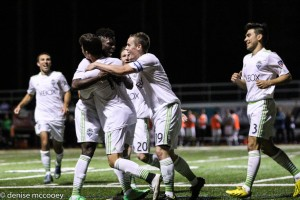 Seattle Sounders U23s celebrate a goal against Outbreak SC. Photo: Denise McCooey