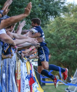 Patrick Otte of the Jacksonville Armada celebrates with Armada fans after scoring a goal against the Charleston Battery in the 2016 US Open Cup. Photo: Gary Lloyd McCullough | Jacksonville Armada