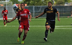 Players from the Richmond Kickers and the Fort Lauderdale Strikers track down a ball in the 2016 US Open Cup. Photo: Kelsey Hinds   Fort Lauderdale Strikers