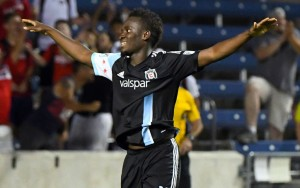 David Accam of the Chicago Fire celebrates his goal against Indy Eleven in the 2016 US Open Cup. Photo: Chicago Fire