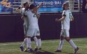 Danny Szetela of the New York Cosmos celebrates with his teammates after scoring a goal against NYCFC in the 2016 US Open Cup. Photo: Steve Hamlin | TICC