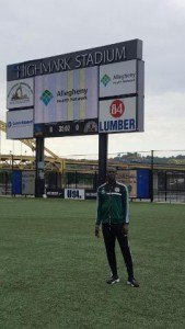 Abdoukarim Danso of the Lansdowne Bhoys FC at Highmark Stadium, home of the Pittsburgh Riverhounds during the 2016 US Open Cup.