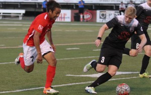 The Des Moines Menace and San Antonio FC battle for the ball in the 2016 US Open Cup. Photo: Antonio Rodriguez