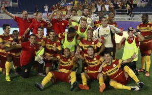 The Fort Lauderdale Strikers celebrate their upset win over Orlando City SC in the 2016 US Open Cup. Photo: Jon van Woerden