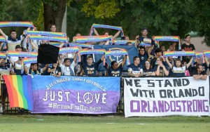 Fans of the Jacksonville Armada show their support for the city of Orlando. Photo: James Drexler