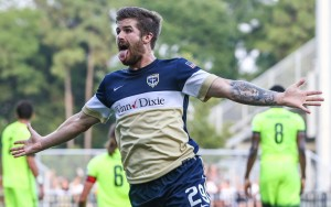Patrick Otte of the Jacksonville Armada celebrates his goal against the Charleston Battery in the 2016 US Open Cup. Photo: Gary Lloyd McCullough | Jacksonville Armada