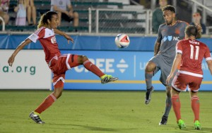 Zachary Herivaux of the New England Revolution battles for the ball against the Carolina RailHawks in the 2016 US Open Cup. Photo: Rob Kinnan   Carolina RailHawks