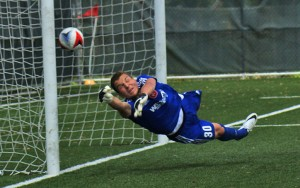 Charlie Horton of the Richmond Kickers goalkeeper tries to save a goal by Fort Lauderdale Strikers' Manny Gonzalez in the 2016 US Open Cup. Photo: Kelsey Hinds | Fort Lauderdale Strikers