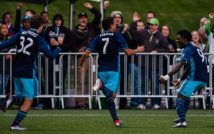 The Seattle Sounders celebrate a goal against the Kitsap Pumas in the 2016 US Open Cup. Photo: Seattle Sounders FC