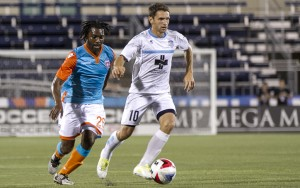 Justin Moose of the Wilmington Hammerheads scored what would prove to be the game-winner against Miami FC in the 2016 US Open Cup. Photo: Miami FC- Orovio Photography