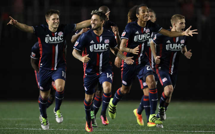fcba7661295 The New England Revolution celebrate after a goal against the Philadelphia  Union. Photo: David