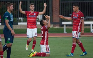 FC Dallas celebrate a goal against OKC Energy FC in Round 4 of the 2016 US Open Cup. Photo: OKC Energy