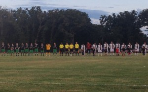 Celtic Cowboys Premier and North Texas Rayados line up before their 2017 US Open Cup qualifying match. Photo: Adam Uthe