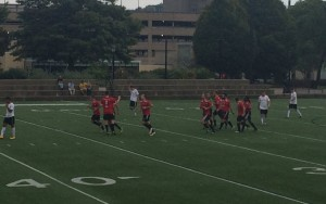 The Tartan Devils celebrate their second goal against Aromas Cafe FC in the second round of the 2017 US Open Cup qualifying tournament. Photo: Tartan Devils Oak Avalon