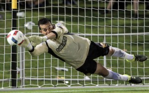 Diego Restrepo of the Fort Lauderdale Strikers makes a penalty kick save against DC United of MLS in the Fourth Round of the 2016 US Open Cup. Photo: Fort Lauderdale Strikers