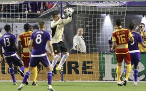 Diego Restrepo of the Fort Lauderdale Strikers makes a save against Orlando City SC in the Fifth Round of the 2016 US Open Cup. Photo: Fort Lauderdale Strikers