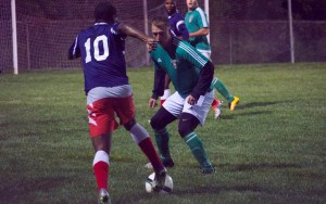 Ebere Goodluck of Junior Lone Star dribbles against Brick Lions FC in the 2017 US Open Cup qualifying match. Photo: Junior Lone Star