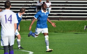 Whitney Browne of Minneapolis City celebrates one of his two goals against Oakland County FC in the second round of the 2017 US Open Cup qualifying tournament. Photo: Daniel Mick   http://www.danielmickcreative.com/USOC-Minneapolis-City-v/