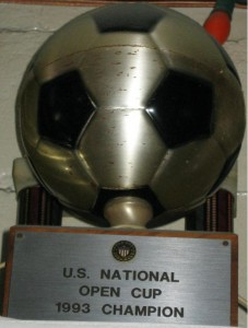 The trophy from the 1993 US Open Cup, won by CD Mexico (El Farolito)