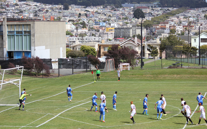 The scene from historic Boxer Stadium in San Francisco with El Farolito hosting Burlingame Dragons in the First Round of the 2017 US Open Cup. Photo: Evan Ream