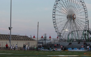 "Carey Stadium (""The Beach House"") is located on the Boardwalk in Ocean City, NJ, just a few hundred yards from the Atlantic Ocean. Only one other minor league sports stadium in the country is closer to an ocean. Photo: Matt Ralph"