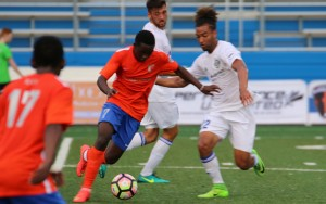 The Charlotte Independence (white) held off a strong charge from the Charlotte Eagles in the Second Round of the 2017 US Open Cup. Photo: Charlotte Eagles