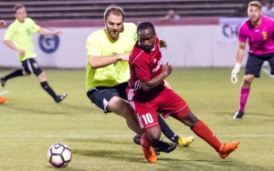 Christos FC (yellow) played a strong defensive game in a 1-0 upset road win over the Richmond Kickers (USL) in the Second Round of the 2017 US Open Cup. Photo: Jessica Stone Hendricks Photography