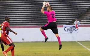 Phil Saunders of Christos FC made seven saves in a 1-0 road win over the Richmond Kickers (USL). Photo: Jessica Hendricks | Richmond Kickers