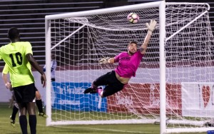 Phil Saunders of Christos FC makes one of his seven saves in a 1-0 road win over the Richmond Kickers. Photo: Jessica Hendricks | Richmond Kickers
