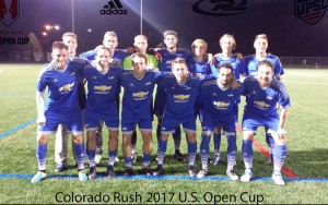 The Colorado Rush pose for a team photo prior to the club's 2017 US Open Cup qualifying match against the IPS Marathon Taverna. Photo: Colorado Rush