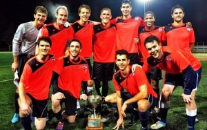 GPS Omens celebrate their 2015 Bay State Soccer League MacKenzie Cup championship. Photo: GPS Omens