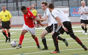 GPS Omens (white) defeated Boston City FC 2-1 in the Second Round of the 2017 US Open Cup. Photo: Boston City FC
