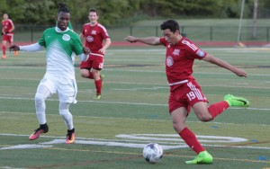 New Jersey Copa (red) and FC Motown squared off in a battle of two New Jersey teams making their US Open Cup debut. Photo: Bob Larson