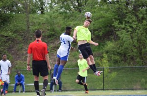 Pete Caringi is a dangerous in the air for Christos FC. Photo: Christos FC