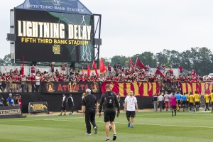 The Fourth Round US Open Cup game between the Charleston Battery and Atlanta United was scheduled for 7:30 p.m. but because of the lightning delay, the game didn't get off until 10:10 p.m. Photo: Atlanta United