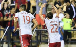 Brandon Vasquez and Mikey Ambrose of Atlanta United celebrate the team's go-ahead goal in the 72nd minute against the Charleston Battery  in the US Open Cup Fourth Round. Photo: Atlanta  United