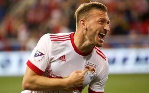 Daniel Royer of the New York Red Bulls celebrates his goal against NYCFC in the Fourth Round of the 2017 US Open Cup. Photo:  Jonathan Loarca